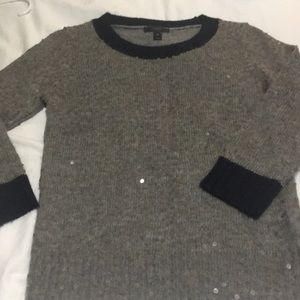 Sequined J crew sweater. Grey with navy trim.